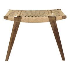Contemporary pi Stool, Fumed Oak Frame, Natural Danish Cord Seat
