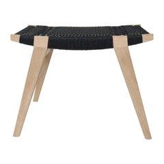 Contemporary pi Stool, Limed Oak Frame, Black Danish Cord Seat