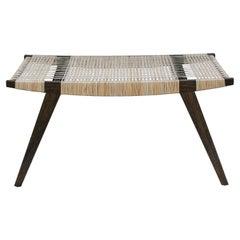 Contemporary pi2 Stool, Fumed Oak Frame, Split Willow Skein Seat