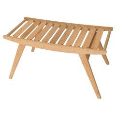 Contemporary pi2 Stool, Oak Frame, Oak Slats Seat