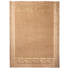 Contemporary Piano Beige and Brown Wool and Silk Rug