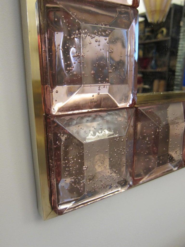 Mid-Century Modern Contemporary Pink Diamond Murano Glass Mirror, in Stock For Sale