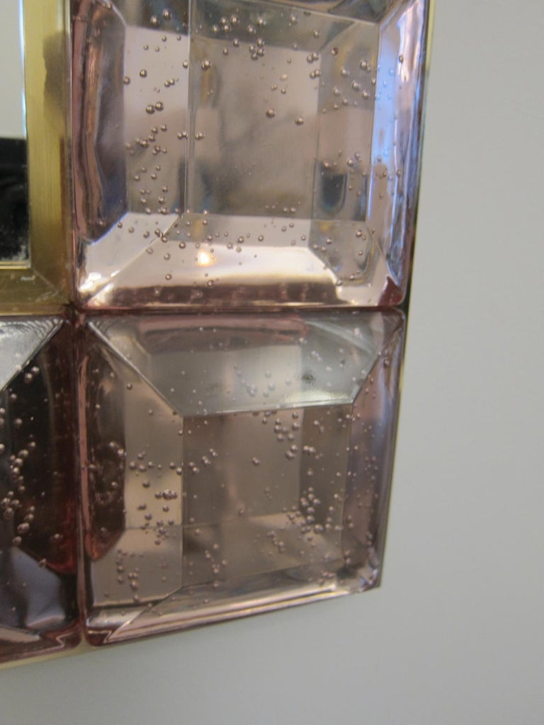 Italian Contemporary Pink Diamond Murano Glass Mirror, in Stock For Sale