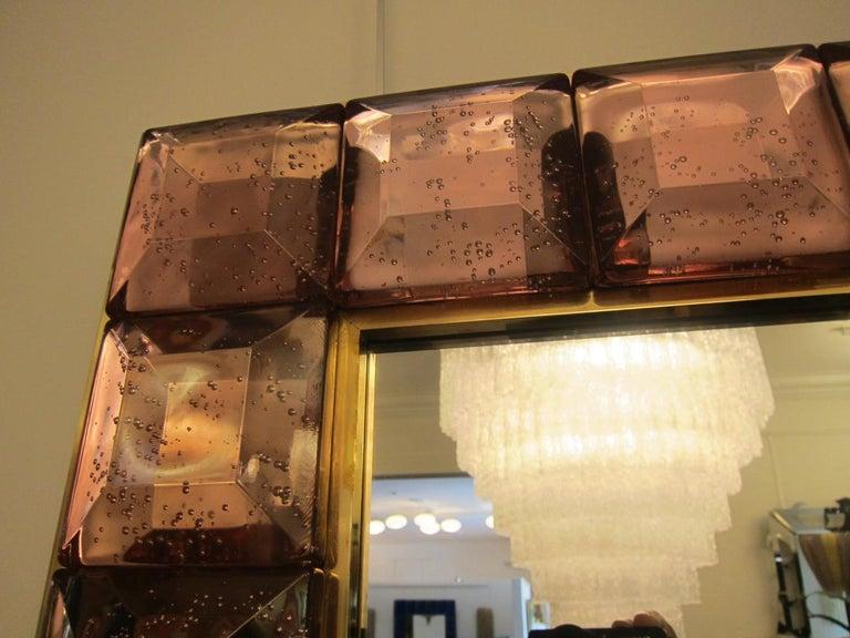 Contemporary Pink Diamond Murano Glass Mirror, in Stock In Excellent Condition For Sale In Miami, FL