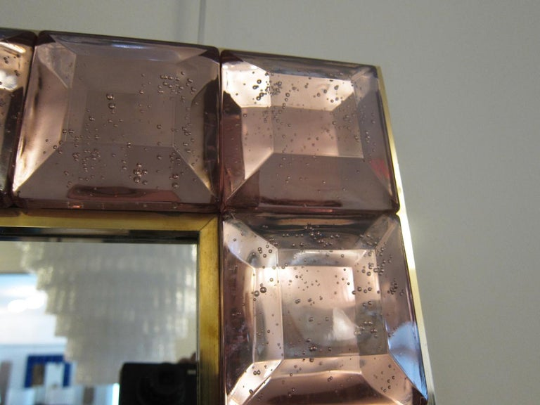 Brass Contemporary Pink Diamond Murano Glass Mirror, in Stock For Sale