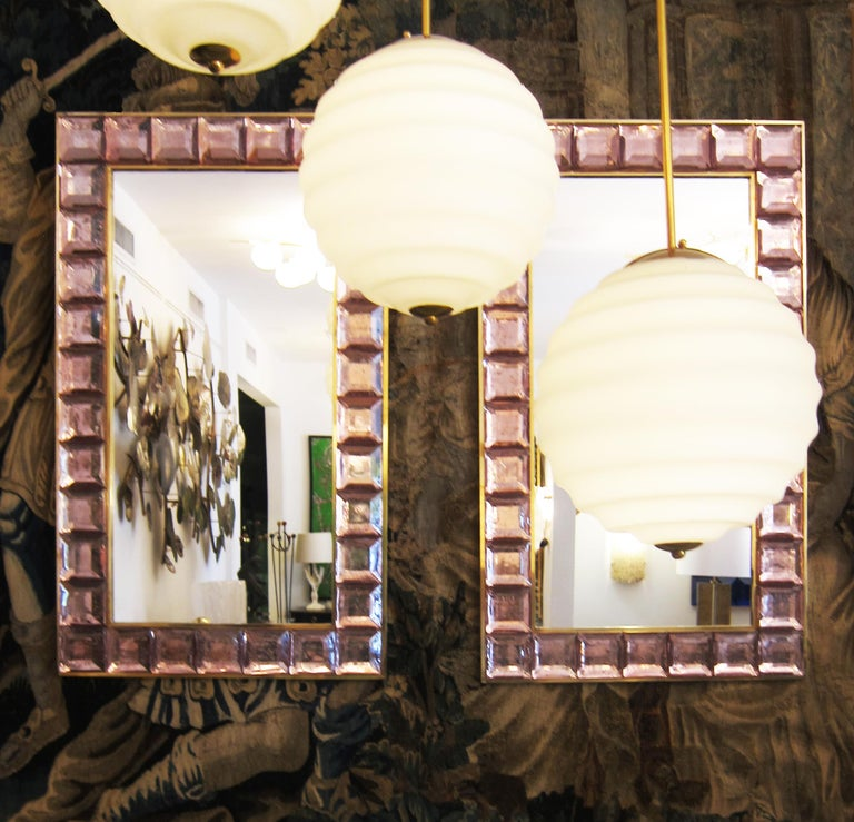 Contemporary Pink Diamond Murano Glass Mirror, in Stock For Sale 1