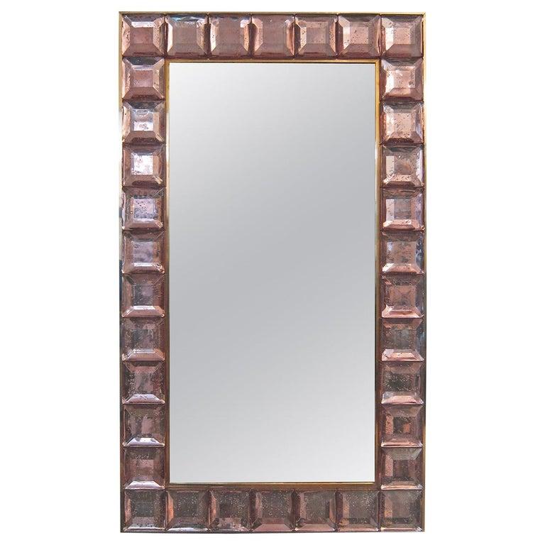 Contemporary Pink Diamond Murano Glass Mirror, in Stock For Sale