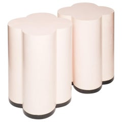Contemporary Pink Parchment Leather Clover Drum Tables