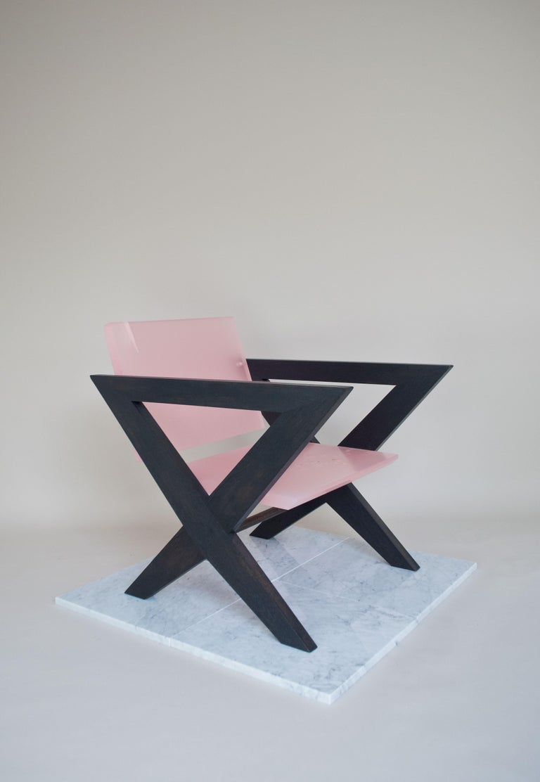Mid-Century Modern Contemporary Pink Resin Chair, Inspired by Pierre Jeanneret For Sale