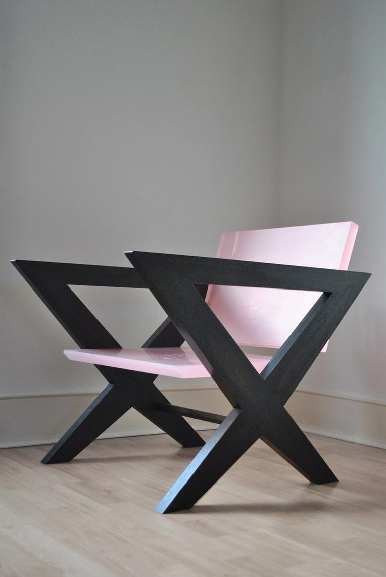 Hand-Crafted Contemporary Pink Resin Chair, Inspired by Pierre Jeanneret For Sale