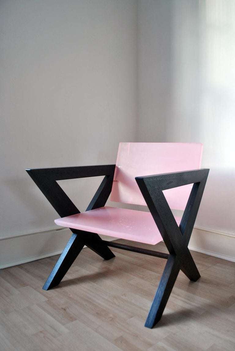 Contemporary Pink Resin Chair, Inspired by Pierre Jeanneret In New Condition For Sale In London, GB