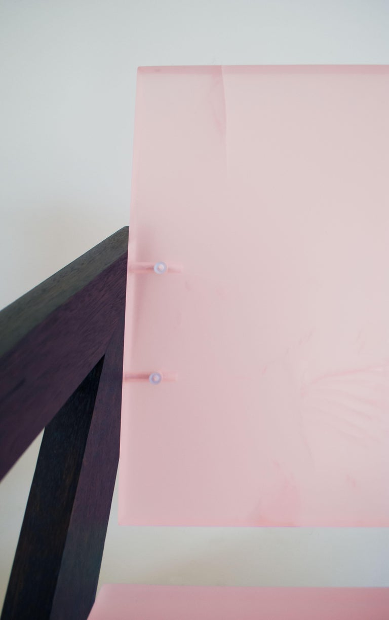 Contemporary Pink Resin Chair, Inspired by Pierre Jeanneret For Sale 1