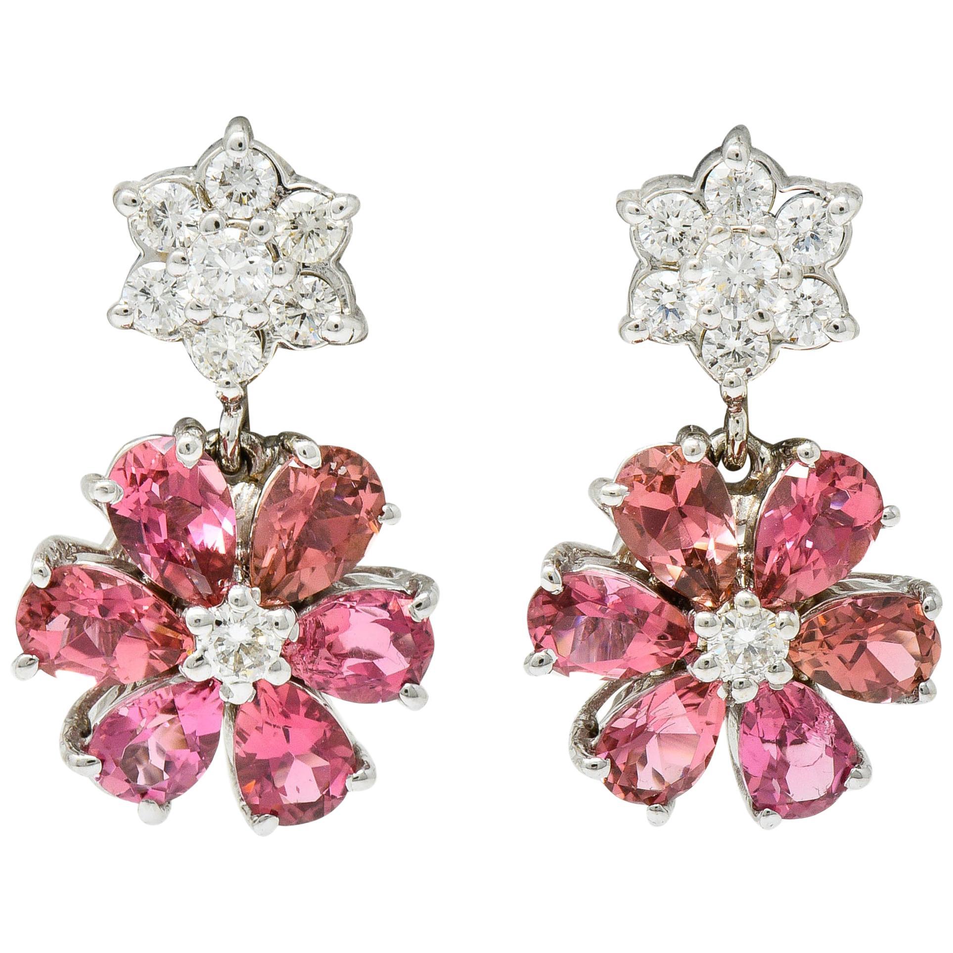 Contemporary Pink Tourmaline Diamond 18 Karat White Floral Cluster Drop Earrings