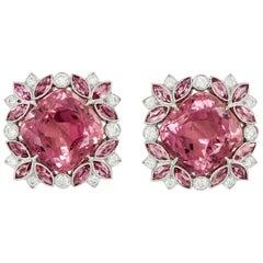 Contemporary Diamond Pink Tourmaline Platinum White Gold Earrings