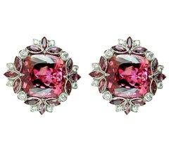 Contemporary Pink Tourmaline Diamond Earrings