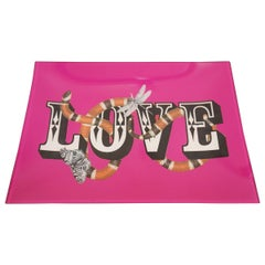 """Contemporary Pink Tray Featuring Snake, Insect, and """"LOVE"""" Design"""