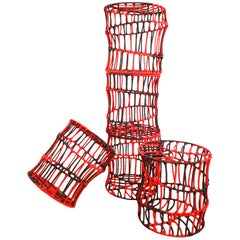 """Contemporary """"Pisa"""" Red-Black Stool from recycled metal by Cheick Diallo, 2015"""