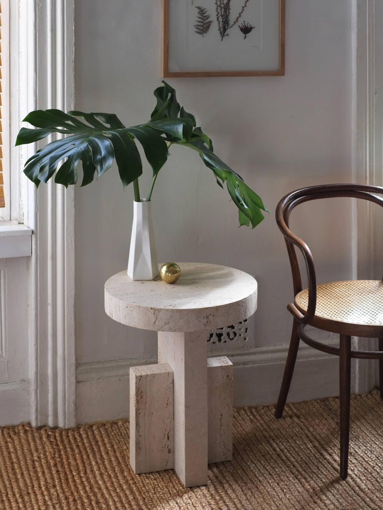 Contemporary Planar Side Table in Travertine Stone by Fort Standard, in Stock 2