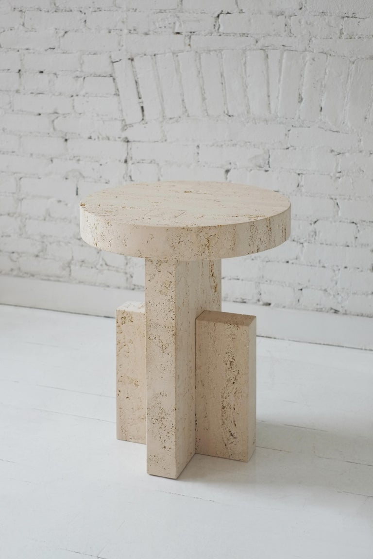 Contemporary Planar Side Table in Travertine Stone by Fort Standard For Sale 1