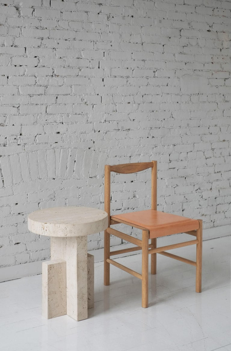 American Contemporary Planar Side Table in Travertine Stone by Fort Standard For Sale