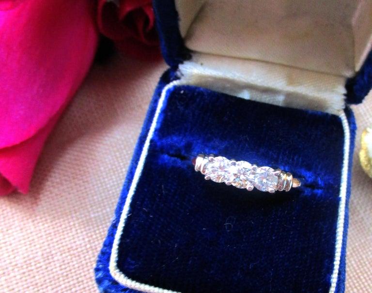 Contemporary Platinum Three-Stone Diamond Engagement Ring For Sale 2