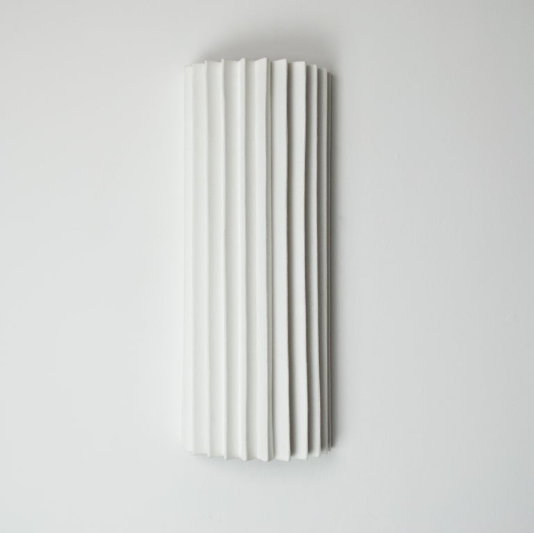 Mid-Century Modern Contemporary Pleated Wall Light with Linen Shade off-white Handmade  For Sale