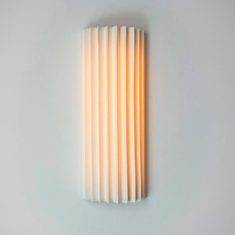 European Contemporary Pleated Wall Light with Linen Shade off-white Handmade  For Sale