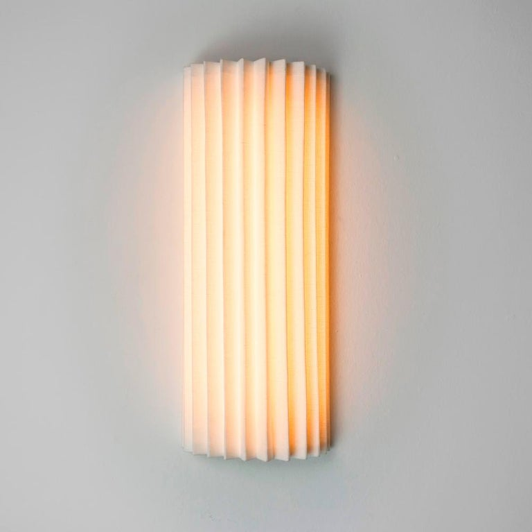 Brushed Contemporary Pleated Wall Light with Linen Shade off-white Handmade  For Sale