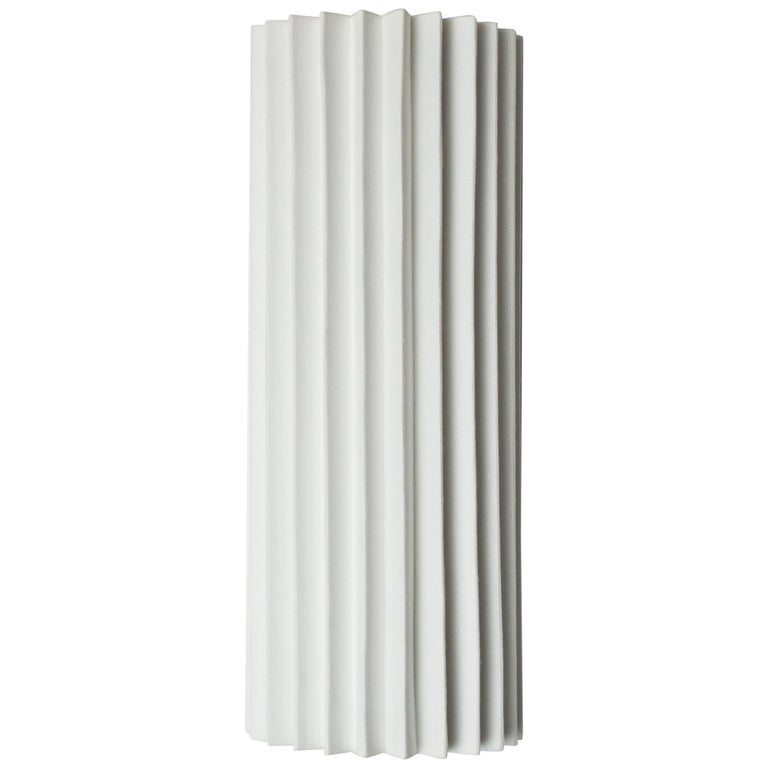 Contemporary Pleated Wall Light with Linen Shade off-white Handmade  For Sale