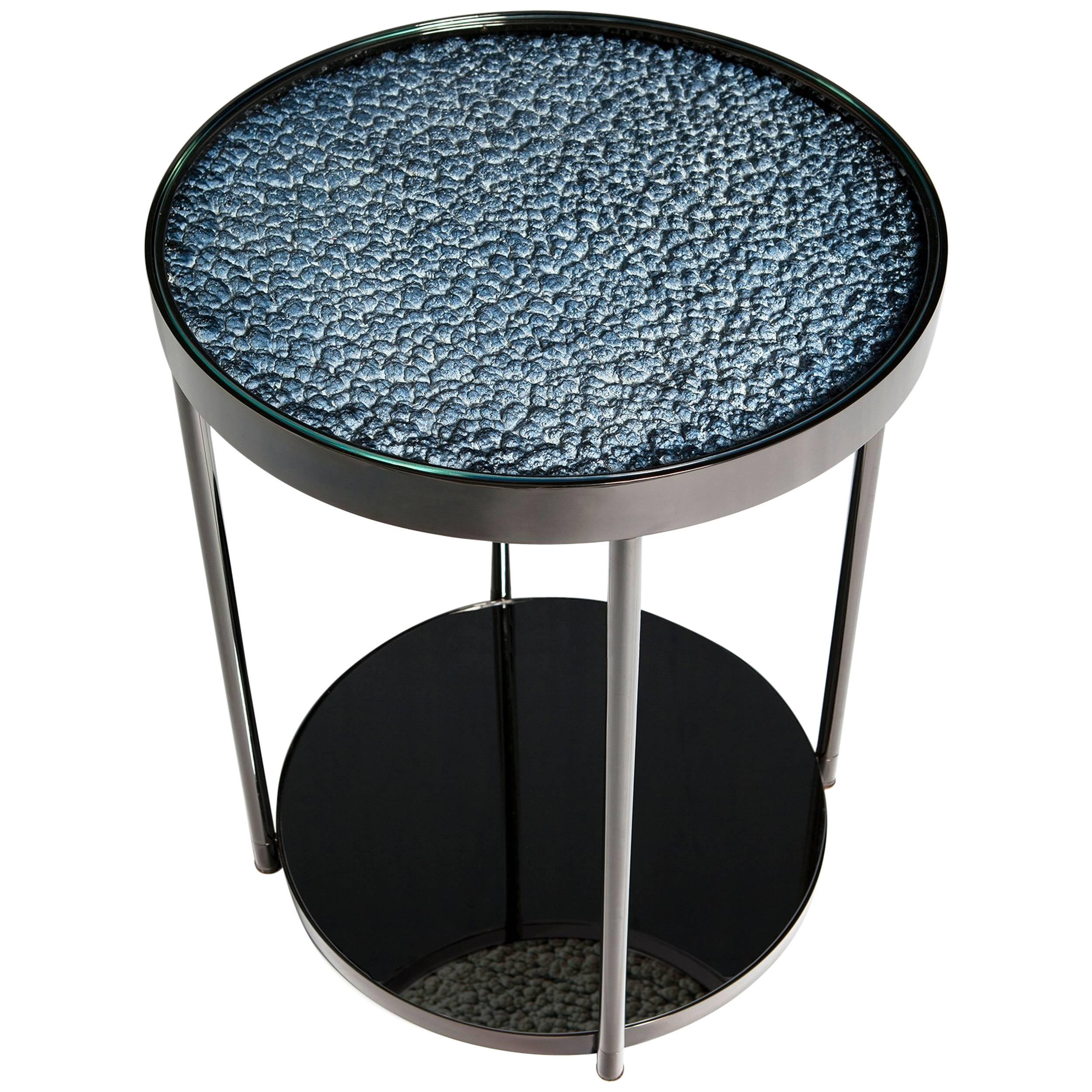 Contemporary Polished Nickel Hemlock Side Table with Gray Tinted Mirror Base