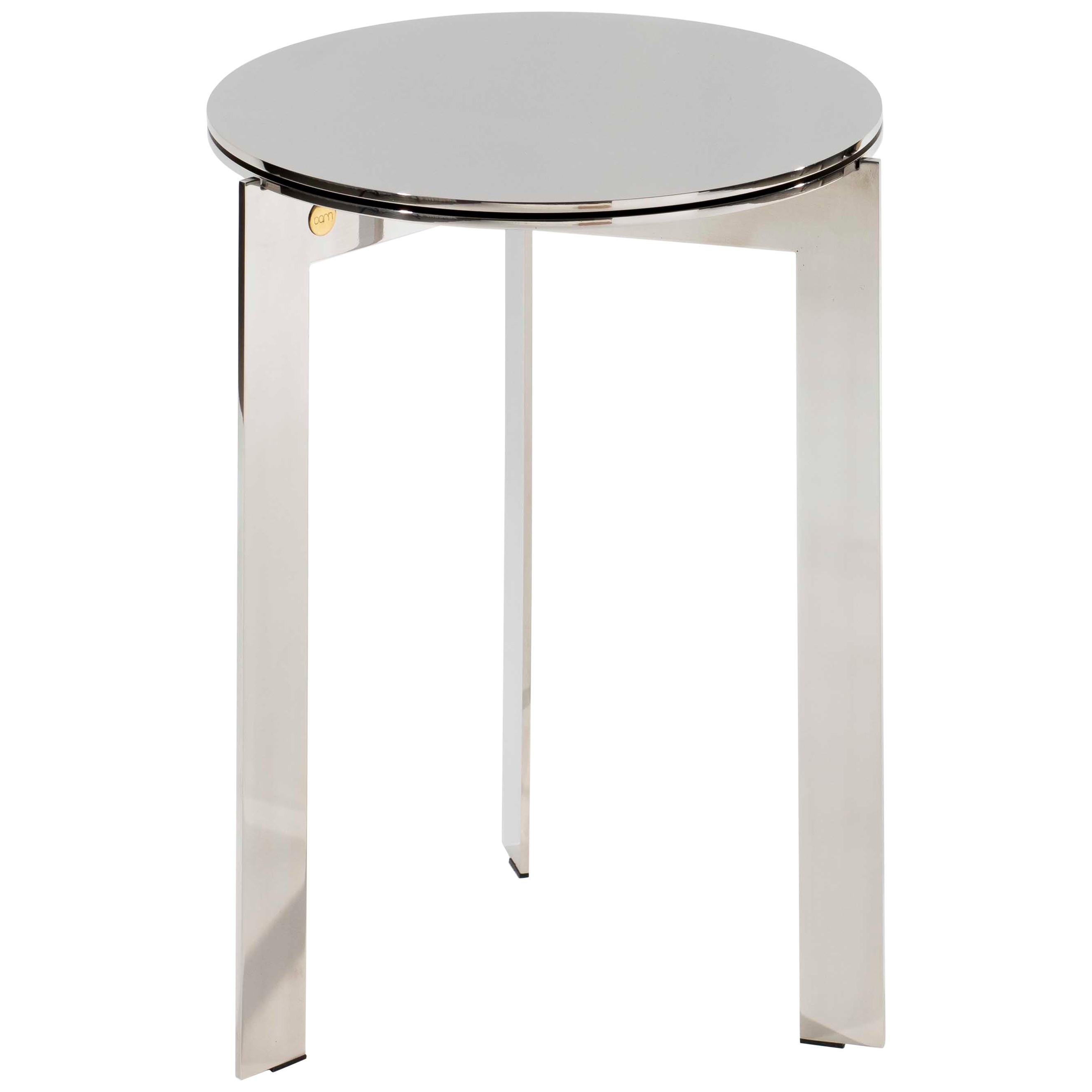 Contemporary Polished Stainless Steel Side Table, Joined RO50.3 c by Barh