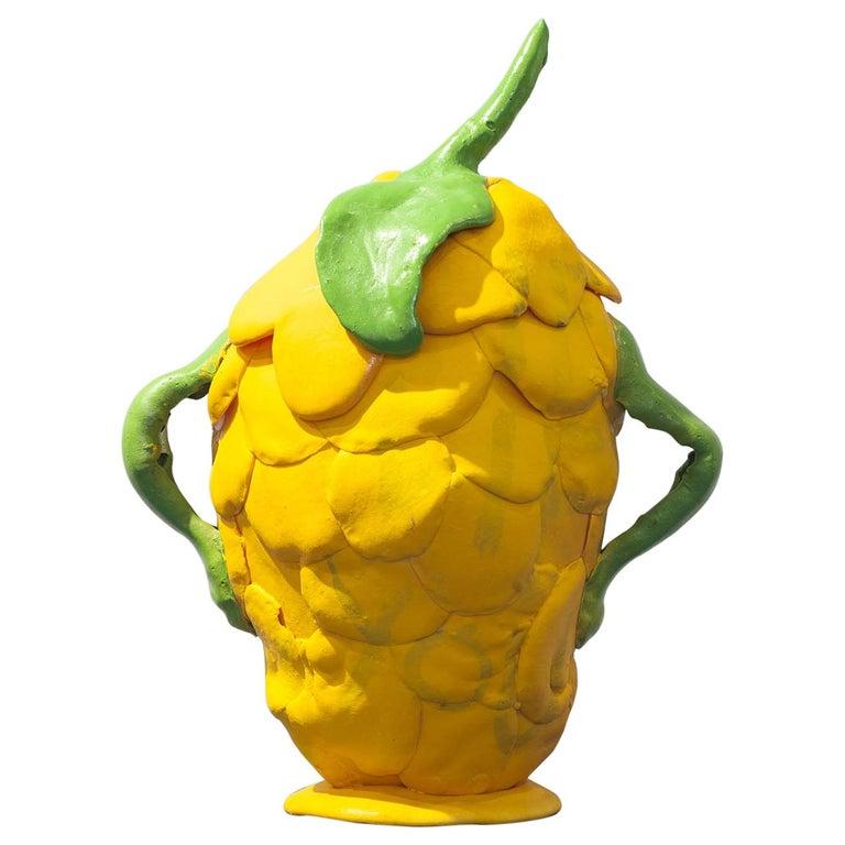 Zeitgenössische gelbe Vase, Polyurethanschaum 1
