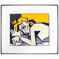 Contemporary Pop Art Reclining Nude Woodcut by Roy Lichtenstein 1980 42/50