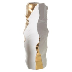 Contemporary Porcelain Big Vase Gold Iceberg Ceramic Hand-Painted Italy Fos