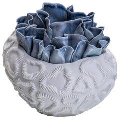 Contemporary Porcelain Blue White Sculpture Sea Coral Nature Handmade Italy Fos