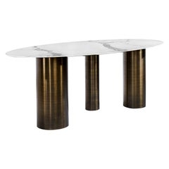 Contemporary Porcelain Dining Table in Trio Bronze Base