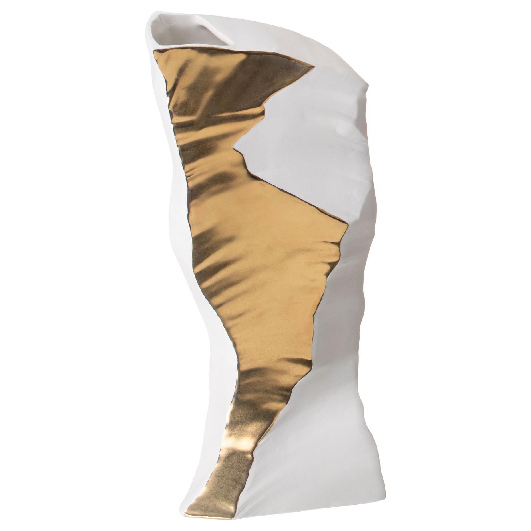 Contemporary Porcelain Medium Vase Gold Iceberg White Ceramic Italy Fos