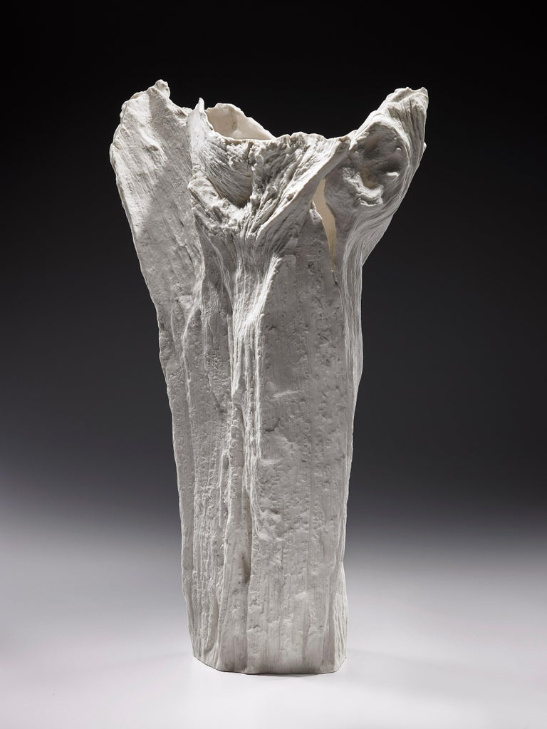 Italian Contemporary Porcelain Sculpture Tree Trunk White Ceramic Italy Fos Ltd Edition For Sale