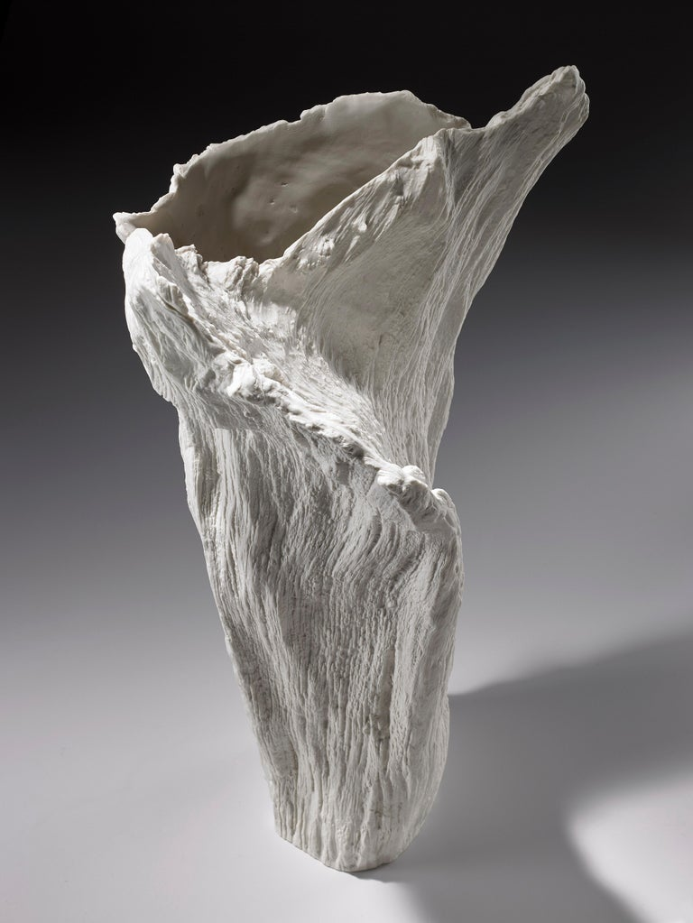 Hand-Crafted Contemporary Porcelain Sculpture Tree Trunk White Ceramic Italy Fos Ltd Edition For Sale