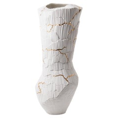 Contemporary Porcelain Tall Vase White Gold Kintsugi Ceramic Hand-Painted Fos