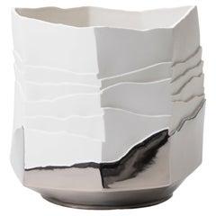 Contemporary Porcelain Vase Platinum Caspò White Ceramic Hand-Painted, Italy FOS