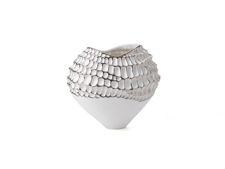 Cast Contemporary Porcelain Vase Platinum Nature Texture White Ceramic Italy Fos For Sale