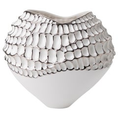 Contemporary Porcelain Vase Platinum Nature Texture White Ceramic Italy Fos