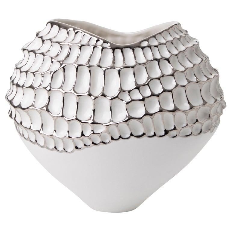 Contemporary Porcelain Vase Platinum Nature Texture White Ceramic Italy Fos For Sale