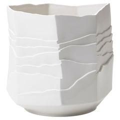 Contemporary Porcelain Vase White Caspò Rocks Ceramic Hand-Painted, Italy FOS