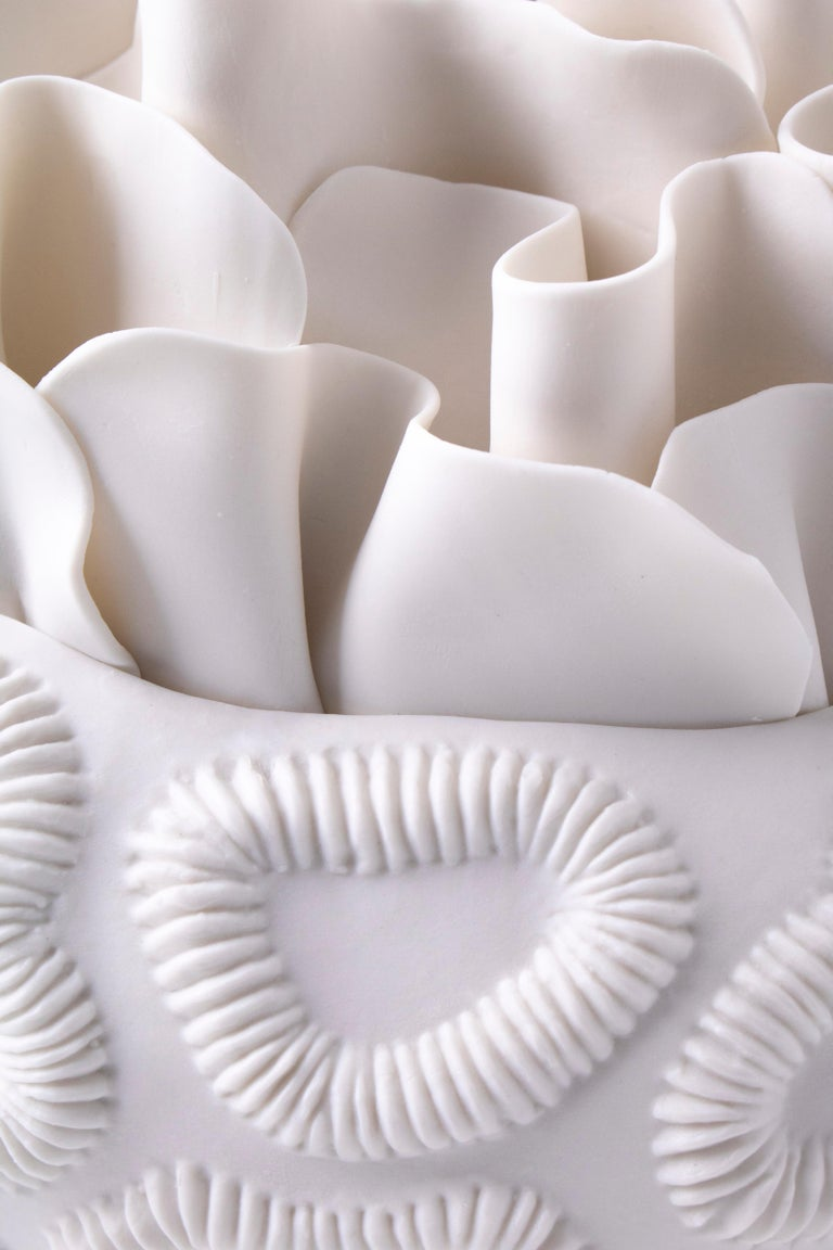 Modern Contemporary Porcelain White Sculpture Sea Coral Natural Handmade Ceramic Fos For Sale