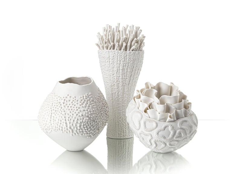 Italian Contemporary Porcelain White Sculpture Sea Coral Natural Handmade Ceramic Fos For Sale