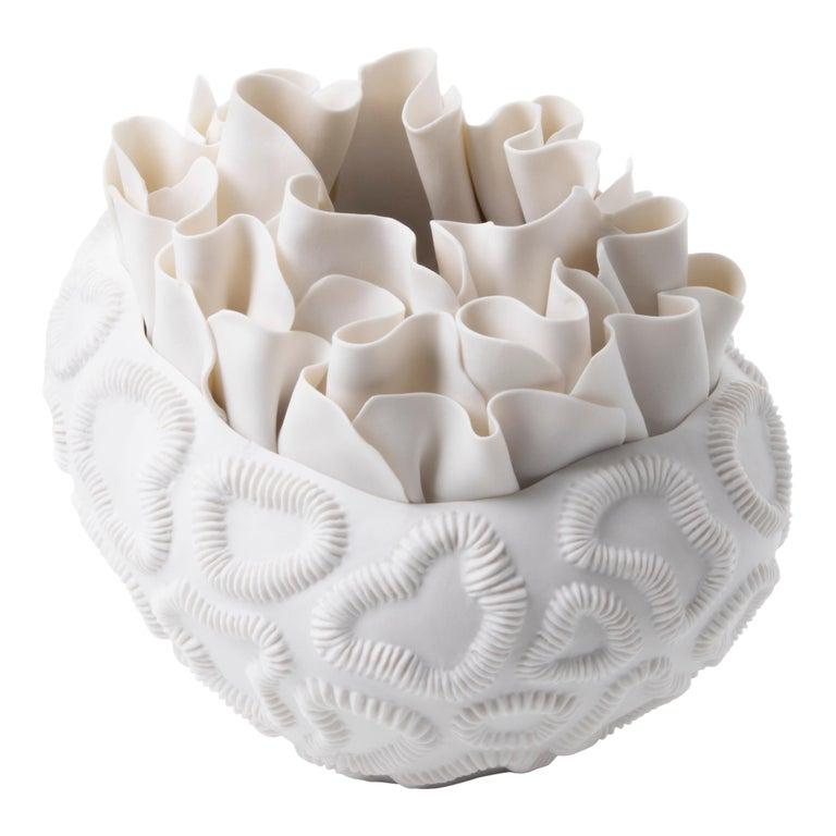 Contemporary Porcelain White Sculpture Sea Coral Natural Handmade Ceramic Fos For Sale