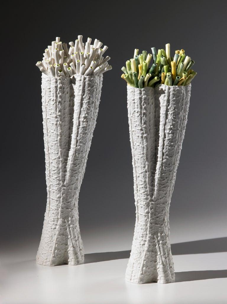 Italian Contemporary Porcelain White Vase Green Corals Sea Ceramic Handmade Italy Fos For Sale