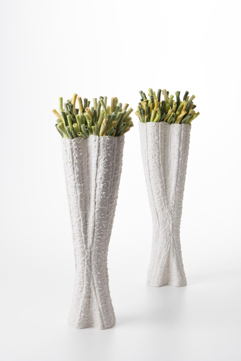 Cast Contemporary Porcelain White Vase Green Corals Sea Ceramic Handmade Italy Fos For Sale